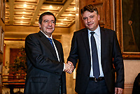 Pictured: (L-R) Mayor of Athens Giorgos Kaminis shakes hands with the Mayor of Skopje Petre Silegov. Friday 09 February 2018<br /> Re: Mayor of Athens Giorgos Kaminis and the Mayor of Skopje in the Former Yugoslav Republic of Macedonia, Petre Silegov have met at the Athens City Hall in Greece.