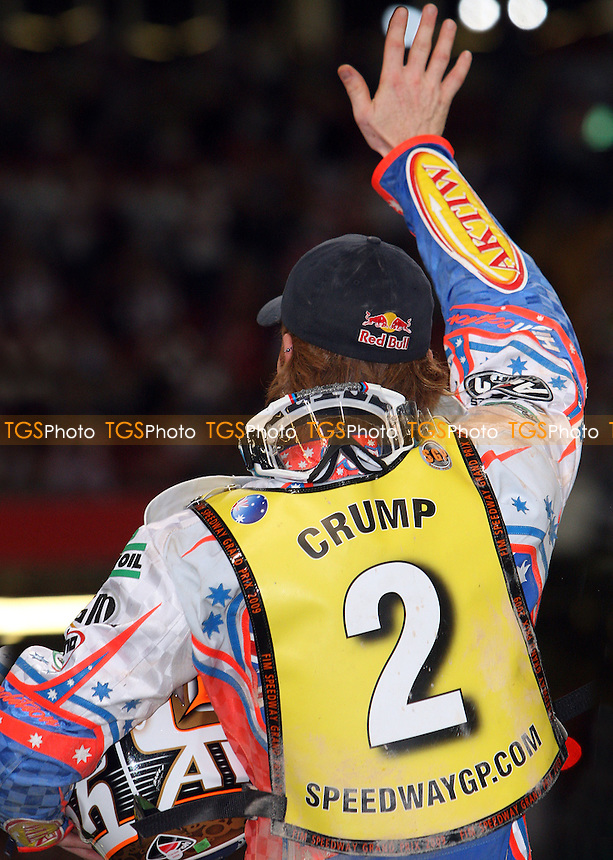 Winner Jason Crump salutes the fans - British Speedway Grand Prix 2009 at the Millenium Stadium, Cardiff - 27/06/09 - MANDATORY CREDIT: Rob Newell/TGSPHOTO - Self billing applies where appropriate - 0845 094 6026 - contact@tgsphoto.co.uk - NO UNPAID USE.