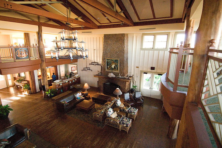 Hawaii: Molokai, The Lodge at Molokai Ranch, a major lodging with a hadsome facade, swimming pool, Great Room lobby, and ranch-decor guest roooms..Photo himolo191-72370..Photo copyright Lee Foster, www.fostertravel.com, lee@fostertravel.com, 510-549-2202