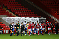 The two teams enter the field of play in front of a rather sparse crowd during Charlton Athletic vs Portsmouth, Checkatrade Trophy Football at The Valley on 7th November 2017