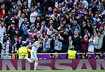 Fans of Real Madrid cheer for their team as Karim Benzema of Real Madrid celebrates for scoring the team's first goal during the UEFA Champions League Semi-final 2nd leg match between Real Madrid and Bayern Munich at the Estadio Santiago Bernabeu on May 01 2018 in Madrid, Spain. Photo by Diego Souto / Power Sport Images