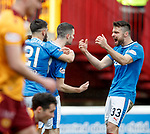 31.3.2018: Motherwell v Rangers: <br /> Jamie Murphy celebrates his goal for Rangers with Russell Martin and Daniel Candeias
