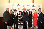 John Varvatos and Michelle Kwan with Nathan & Karen Chen with Terry & Tina Lundgren and Courtney Reagan and Jared Baker at Figure Skating in Harlem's Champions in Life (in its 21st year) Benefit Gala recognizing the medal-winning 2018 US Olympic Figure Skating Team on May 1, 2018 at Pier Sixty at Chelsea Piers, New York City, New York. (Photo by Sue Coflin/Max Photo)