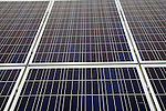 Close up of PV photovoltaic solar panels