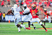 TE Melvin Keihn chases after the Bison quarterback. Maryland routed Howard 52-13 during home season opener at Capital One Field in College Park, MD on Saturday, September 3, 2016.  Alan P. Santos/DC Sports Box