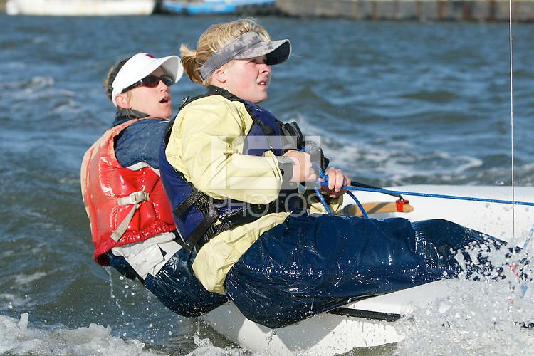 1 April 2004: Liz Shearer and Jen Porter during sailing practice in Redwood Shores, CA.