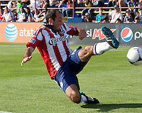 Santa Clara, California - Sunday May 13th, 2012: Nick LaBrocca of Chivas USA defending during a Major League Soccer match against San Jose Earthquakes at Buck Shaw Stadium