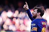 18th March 2018, Camp Nou, Barcelona, Spain; La Liga football, Barcelona versus Athletic Bilbao; Leo Messi of FC Barcelona celebrates the 30th minute goal for 2-0