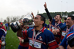Alesio Petelo kisses the McNamara cup as the players salute their supporters. CMRFU Counties Power 2008 Club rugby McNamara Cup Premier final between Ardmore Marist & Patumahoe played at Growers Stadium, Pukekohe on July 26th.  Ardmore Marist won 9 - 8.