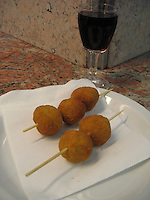 Olives Ascolanas and Vino Rosso