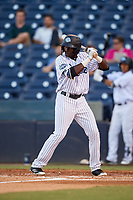Tampa Tarpons center fielder Estevan Florial (34) at bat during a game against the Daytona Tortugas on April 18, 2018 at George M. Steinbrenner Field in Tampa, Florida.  Tampa defeated Daytona 12-0.  (Mike Janes/Four Seam Images)