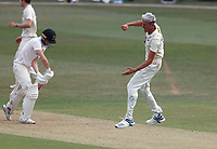 Harry Podmore of Kent is jubilant after taking the wicket of George Garton (L) during Kent CCC vs Sussex CCC, Bob Willis Trophy Cricket at The Spitfire Ground on 8th August 2020
