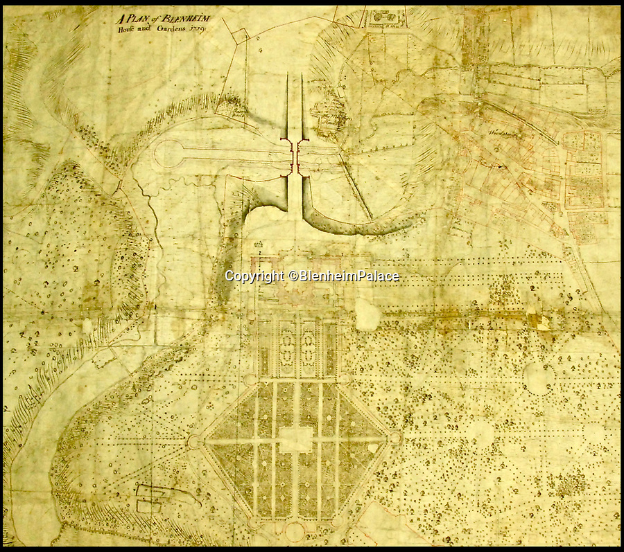 BNPS.co.uk (01202 558833)<br /> Pic: BlenheimPalace/BNPS<br /> <br /> Plan of Blenheim Palace before the creation of the lake.<br /> <br /> A previously unseen set of delicate flower painting's put on show at Blenheim Palace actually reveal a Georgian obsession that brought down the 5th Duke of Marlborough.<br /> <br /> The 18th century watercolour's by the Susan Spencer-Churchill, the 5th Duchess, have just been put on display her Oxfordshire home for the first time.<br /> <br /> But the story behind the beautiful paintings uncovers the expensive fascination of the late Geogian aristocracy for the new found craze of plant hunting, which the Duke carried on to such an extent that his vast estate was actually plunged into insolvancy.