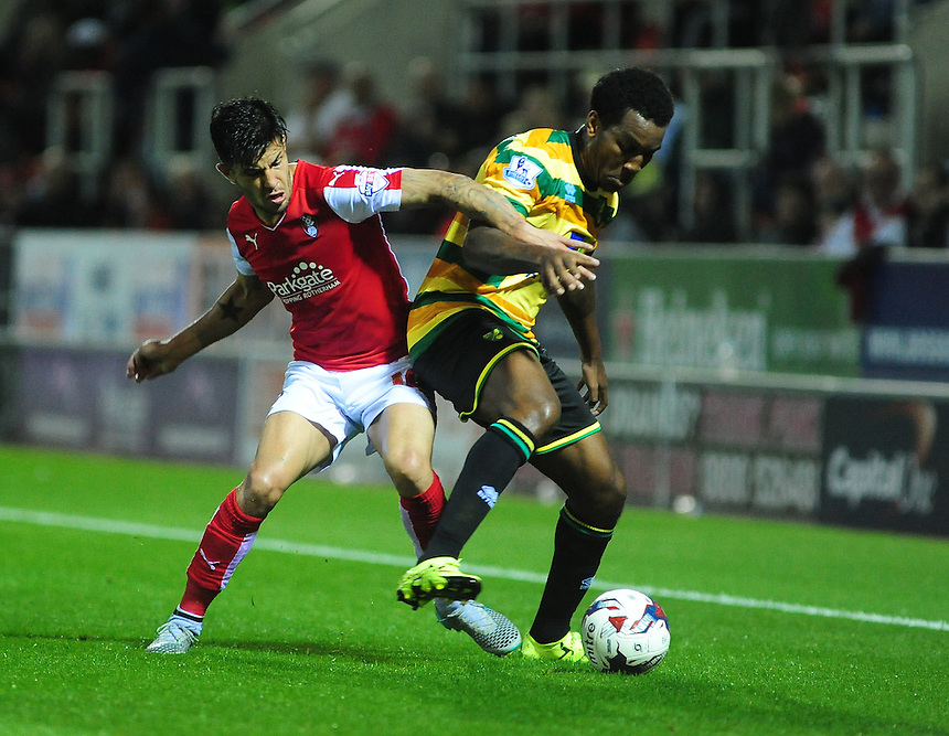 Rotherham United's Emmanuel Ledesma vies for possession with Norwich City's Andre Wisdom<br /> <br /> Photographer Andrew Vaughan/CameraSport<br /> <br /> Football - Capital One Cup Second Round - Rotherham United v Norwich - Tuesday 25th August 2015 - New York Stadium - Rotherham<br />  <br /> &copy; CameraSport - 43 Linden Ave. Countesthorpe. Leicester. England. LE8 5PG - Tel: +44 (0) 116 277 4147 - admin@camerasport.com - www.camerasport.com