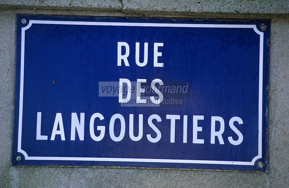 """Europe/France/Bretagne/29/Finistère/Cap Sizun/Plogoff: Détail plaque de rue """"Rue des Langoustiers"""""""