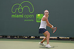 March 21 2016:  Stefanie Voegele (SUI) loses to Lourdes Domingues Lino (ESP) 6-2, 7-5, at the Miami Open being played at Crandon Park Tennis Center in Miami, Key Biscayne, Florida.