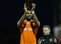 Blackpool's Michael Nottingham applauds his side's travelling supporters at the end of the match <br /> <br /> Photographer Andrew Kearns/CameraSport<br /> <br /> The EFL Sky Bet League One - Portsmouth v Blackpool - Saturday 12th January 2019 - Fratton Park - Portsmouth<br /> <br /> World Copyright © 2019 CameraSport. All rights reserved. 43 Linden Ave. Countesthorpe. Leicester. England. LE8 5PG - Tel: +44 (0) 116 277 4147 - admin@camerasport.com - www.camerasport.com