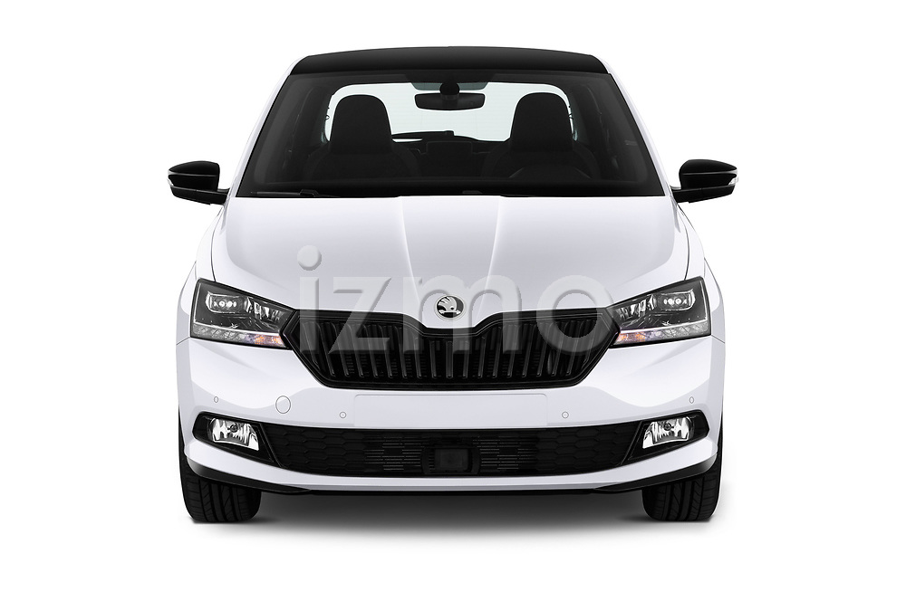 Car photography straight front view of a 2018 Skoda Fabia Monte-Carlo 5 Door Hatchback Front View