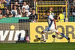10.08.2019, Donaustadion, Ulm, GER, DFB Pokal, SSV Ulm 1846 Fussball vs 1. FC Heidenheim, <br /> DFL REGULATIONS PROHIBIT ANY USE OF PHOTOGRAPHS AS IMAGE SEQUENCES AND/OR QUASI-VIDEO, <br /> im Bild Lennart Stoll (Ulm, #18) rettet auf der Linie<br /> <br /> Foto © nordphoto / Hafner