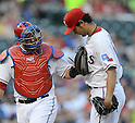 (L-R) Geovany Soto, Yu Darvish (Rangers),.APRIL 30, 2013 - MLB :.Catcher Geovany Soto and pitcher Yu Darvish of the Texas Rangers during the baseball game against the Chicago White Sox at Rangers Ballpark in Arlington in Arlington, Texas, United States. (Photo by AFLO)