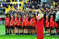 The Kiwis sing the national anthem during the 2017 Rugby League World Cup quarterfinal match between New Zealand Kiwis and Fiji at Wellington Regional Stadium in Wellington, New Zealand on Saturday, 18 November 2017. Photo: Mike Moran / lintottphoto.co.nz