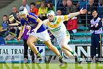Darragh Shanahan Lixnaw in action against Daniel Collins Kilmoyley in the County Senior Hurling Final at Austin Stack Park Tralee on Sunday.