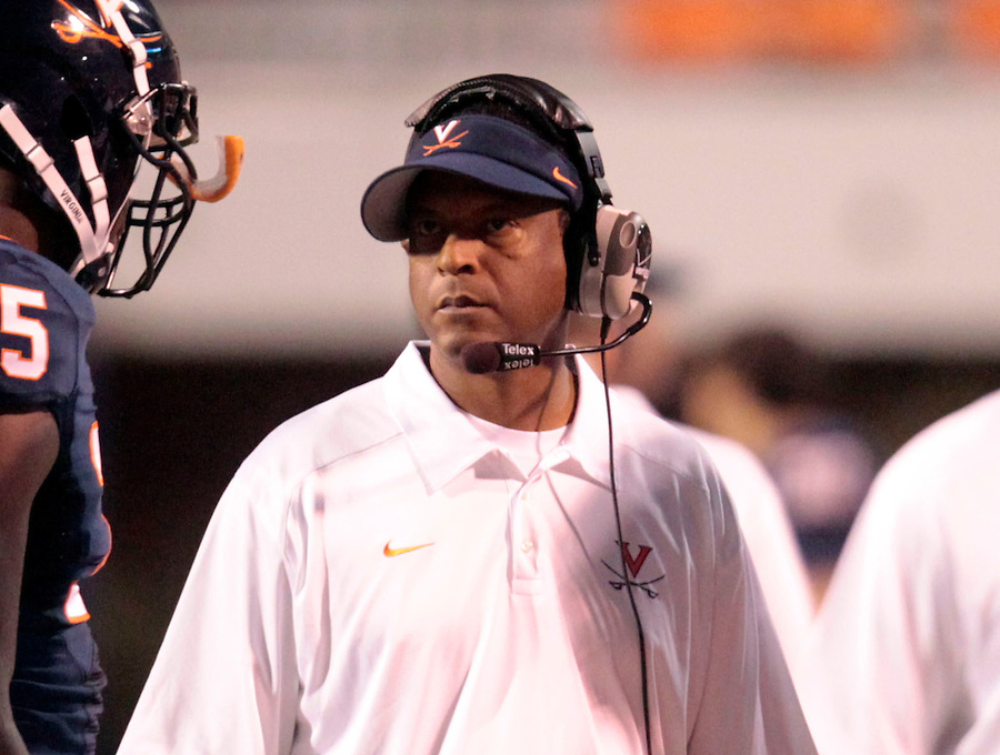 Chip West, recruiting coordinator/cornerbacks coach, watches a play during the game Saturday at Scott Stadium in Charlottesville, VA. Clemson defeated Virginia 59-10.  Photo/Andrew Shurtleff
