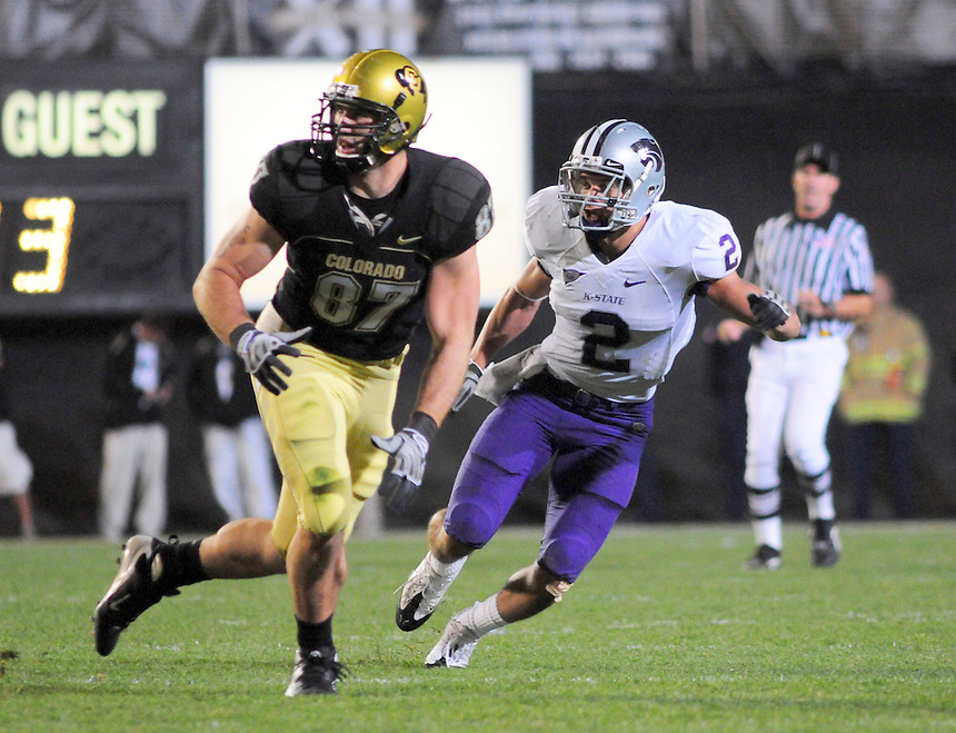 18 October 08: Kansas State safety Tysyn Hartman (2) covers Colorado tight end Riar Greer (87). The Colorado Buffaloes defeated the Kansas State Wildcats 14-13 at Folsom Field in Boulder, Colorado.