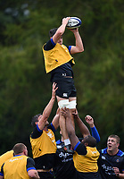 Josh Bayliss of Bath Rugby wins the ball at a lineout. Bath Rugby pre-season training session on August 9, 2017 at Farleigh House in Bath, England. Photo by: Patrick Khachfe / Onside Images
