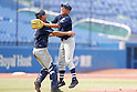 (L-R) Tsukasa Tomono, , AUGUST 4, 2015 - Baseball : All Japan Little-Senior Baseball Championship final match between Omiya senior 7-3 Edogawa Chuo senior at Jingu stadium in Tokyo, Japan. (Photo by Yusuke Nakanishi/AFLO SPORT)