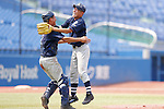 (L-R) Tsukasa Tomono, , AUGUST 4, 2015 - Baseball : All Japan Little-Senior Baseball Championship final match between Omiya senior 7-3 Edogawa Chuo senior at Jingu stadium in Tokyo, Japan. (Photo by Yusuke Nakanishi/AFLO SPORT)
