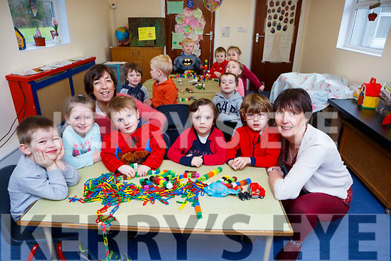Catherine Fleming and Maura McSweeney settling into their new prefab at Currow Preschool with front row l-r: Gavin Sheehan, Bella Clifford, Aidan Brosnan, Sarah Pembroke and James Brosnan