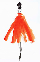 Watercolour sketch fashion illustration