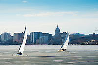 Iceboat racers compete in the Four Lakes Ice Yacht Club race on Lake Monona on Saturday in Madison