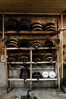 "Traditional buckets used in the brewing of sake. Tsukinokatsura sake brewery, Fushimi, Kyoto, Japan, October 10, 2015. Tsukinokatsura Sake Brewery was founded in 1675 and has been run by 14 generations of the Masuda family. Based in the famous sake brewing region of Fushimi, Kyoto, it has a claim to be the first sake brewery ever to produce ""nigori"" cloudy sake. It also brews and sells the oldest ""koshu"" matured sake in Japan."