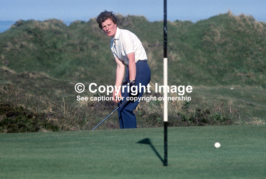 British golfer, Mrs Isabella Robertson, competing in the 1968 Curtis Cup at Royal County Down, Newcastle, Co Down, N Ireland, UK. The USA won 10 1/2 to 7 1/2. June 1968. 196806000246IR<br />