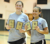 Rachel Polansky, left, and Stephanie Tavel of East Meadow pose for pictures after winning the Nassau County varsity girls badminton doubles championship at Bellmore JFK High School on Saturday, May 14, 2016.