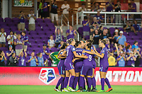 Orlando, FL - Saturday August 12, 2017: Orlando Pride celebrate a goal during a regular season National Women's Soccer League (NWSL) match between the Orlando Pride and Sky Blue FC at Orlando City Stadium.