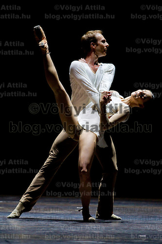 Alexandra Kozmer and Zoltan Olah, member of the Hungarian National Ballet Company perform their dance from The Nature of Sunlight during the World Stars Ballet Gala held in the Budapest Opera House in Budapest, Hungary, Saturday, 25. September 2010. ATTILA VOLGYI