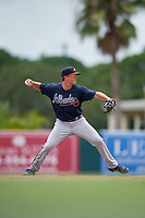 GCL Braves Cade Bunnell (25) throws to first base during a Gulf Coast League game against the GCL Orioles on August 5, 2019 at Ed Smith Stadium in Sarasota, Florida.  GCL Orioles defeated the GCL Braves 4-3 in the second game of a doubleheader.  (Mike Janes/Four Seam Images)