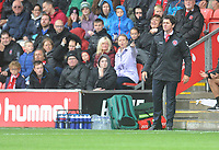 Fleetwood Town manager Joey Barton shouts instructions to his team from the dug-out <br /> <br /> Photographer Kevin Barnes/CameraSport<br /> <br /> The EFL Sky Bet Championship - Fleetwood Town v AFC Wimbledon - Saturday 10th August 2019 - Highbury Stadium - Fleetwood<br /> <br /> World Copyright © 2019 CameraSport. All rights reserved. 43 Linden Ave. Countesthorpe. Leicester. England. LE8 5PG - Tel: +44 (0) 116 277 4147 - admin@camerasport.com - www.camerasport.com