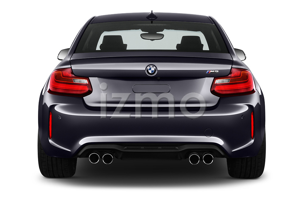 Straight rear view of a 2017 BMW M2 Base 2 Door Coupe stock images