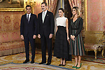 King Felipe VI of Spain (2l) and Queen Letizia of Spain (c-r) receive Spanish prime minister Pedro Sanchez (l) and wife Begona Gomez (r) because of the United Nations conference for the Climate Summit 2019 (COP25) at the Royal Palace. December 2,2019. (ALTERPHOTOS/Pool/Carlos Alvarez)