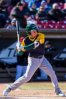 Beloit Snappers shortstop Nick Allen (2) swings at a pitch during a Midwest League game against the Wisconsin Timber Rattlers on April 7, 2018 at Fox Cities Stadium in Appleton, Wisconsin. Beloit defeated Wisconsin 10-1. (Brad Krause/Four Seam Images)