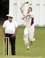 Joel Hughes bowls for North Middlesex during the Middlesex County Cricket League Premier Division  game between Hampstead and North Middlesex at Lymington Road, Hampstead on Sat July 19, 2014