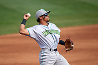 Lynchburg Hillcats third baseman Jorma Rodriguez (9) throws to first base in between innings while warming up during the first game of a doubleheader against the Frederick Keys on June 13, 2018 at Nymeo Field at Harry Grove Stadium in Frederick, Maryland.  Frederick defeated Lynchburg 3-0.  (Mike Janes/Four Seam Images)