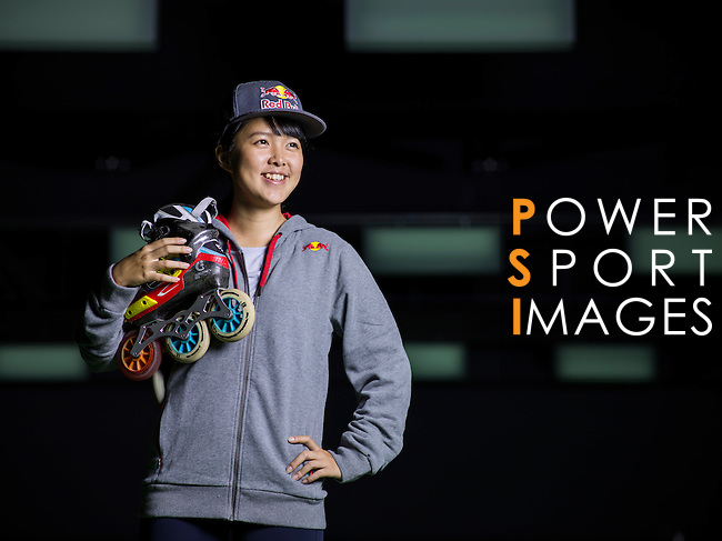Red Bull Skate Roller Athlete 王姿茜 Una Wang poses during a photo session on December 07, 2015 in Taipei, Taiwan. Photo by Victor Fraile / Power Sport Images