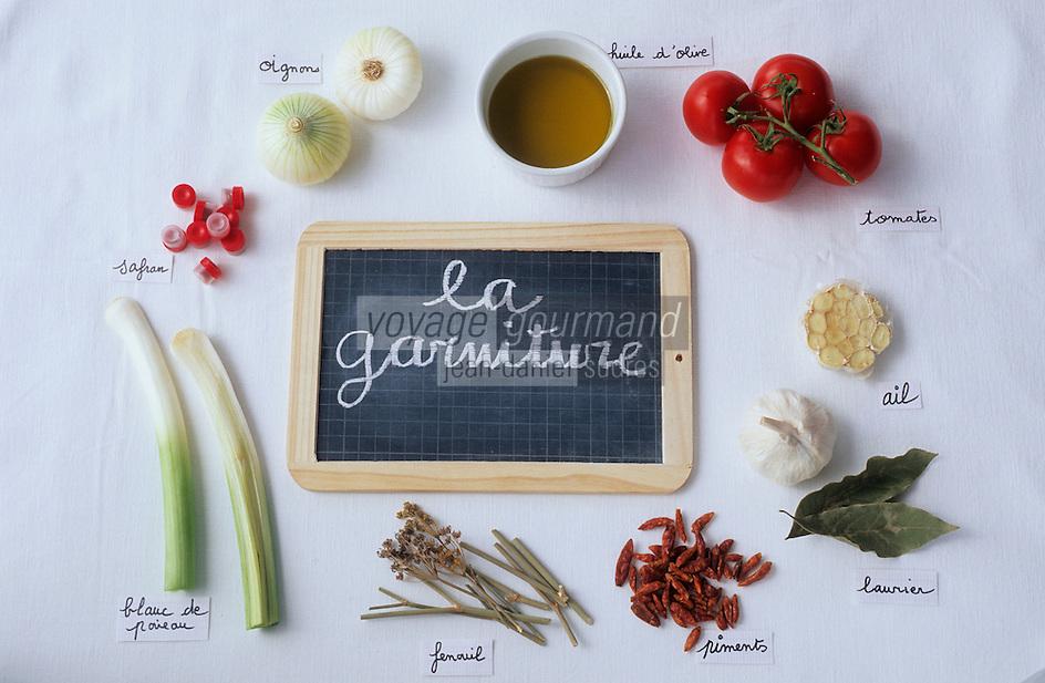 Europe/France/Provence-ALpes-Côte d'Azur/13/Bouches-du-Rhône/Marseille: Les éléments de la bouillabaisse de Gaby le pêcheur au bar des Goudes - La ganiture