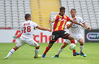 20190803 - LENS , FRANCE : Lens' Simon Banza (M) with Guingamp's Jeremy Mellot (L) and Christophe Kerbrat (R) pictured during the soccer match between Racing Club de LENS and En Avant Guingamp , on the second matchday in the French Dominos pizza Ligue 2 at the Stade Bollaert Delelis stadium , Lens . Saturday 3 th August 2019 . PHOTO DIRK VUYLSTEKE | SPORTPIX.BE