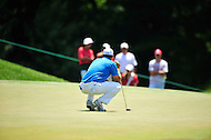 Bethesda, MD - June 29, 2014: Gary Woodland lining up his next shot on six during final round of play at the Quicken Loans National at Congressional Country Club in Bethesda MD. (Photo by Phillip Peters/Media Images International)